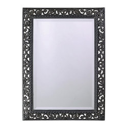 None - Antique Black Mirror with Silver Highlights - This mirror features an attractive antique black finish with silver highlights. This wall accent can hang either vertically or horizontally for convenience.