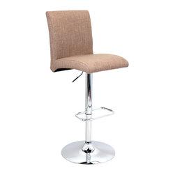 "Lumisource - Tintori Barstool, Medium Brown - Overall: 20.5"" L x 16.25"" W x 40"" to 44.75"" H (Seat Height: 27.5"" to 32.25"") (Backrest: 14.5"" H) (Seat: 16.25"" L x 16.25"" W) (Top of seat to footrest: 17"")"