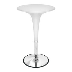 Lumisource - Gelato Bar Table White - Retro design combined with adjustable height hydraulics make the Gelato Bar Table both functional and stylish. Table height adjusts to meet your needs. Features a chrome base and support post. Bring a little joy into your home or bar!