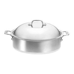 All-Clad - Stainless Steel 6-Qt. Round French Braiser with Lid & Rack - With its 18/10 stainless steel cooking surface and hand-polished, mirror-finished exterior, the All-Clad Stainless collection is the ultimate reflection of style and practicality. Magnetic stainless steel makes All-Clad Stainless the ideal cookware for induction cooktops, as well. The Stainless collection is All-Clad's best-selling cookware series, and is the cookware of preference for many of the world's professional chefs and discriminating home cooks. Perfect for braising, the All Clad Stainless 6-Qt. French Braiser features a classic French design and a polished stainless steel exterior. The pan is constructed of tri-ply technology; two layers of stainless steel are bonded with a layer of aluminum for maximum heat conductivity. The rim is flared for easy pouring of juices or gravies, and the domed lid provides added capacity and ideal results when braising. The riveted handles make the pan easy to lift and transfer, and the stainless steel rack makes the pan very versatile. Features: -Pure aluminum core covers bottom of the pan and extends up the sides for greater heat conductivity.-Signature stay-cool handles are cast from solid stainless-steel and designed for ergonomic comfort.-Suited for all stovetops including electric, gas, ceramic, induction and halogen.-Dishwasher safe.-Made in the USA.-Capacity: 6-Qt..-Product Type: Round Braiser.-Collection: Stainless.-Color: Stainless Steel.-Distressed: No.-Powder Coated Finish: No.-Gloss Finish: No.-Material: Metal -Material Details: Stainless Steel, Aluminum..-Non-Toxic: Yes.-Scratch Resistant: No.-Chip Resistant: No.-Stain Resistant: No.-Rust Resistant: No.-Warp Resistant: No.-Tarnish Resistant: No.-Non-Stick Surface: No.-Shape: Round.-Construction Type: 3-Ply.-Handles Included: Yes -Number of Handles: 2.-Handle Material: Stainless Steel.-Handle Finish: Stainless Steel.-Heat Resistant Handle: No.-Non-Slip Handle: No..-Lid Included: Yes -Lid Han
