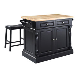 Crosley Furniture - Butcher Block Top Kitchen Island with Saddle - Includes two stools. Fully functional doors and drawers on both sides. Butcher block top. Two towel bars. Brushed nickel hardware. Carved column accents. Two adjustable shelves behind doors. Stool with black upholstered. Warranty: 90 days. Made from solid hardwood and wood veneers. Made in Vietnam. Black finish. Upholstered saddle stool height: 24 in.. Overall: 48.25 in. W x 23 in. D x 36 in. H (143 lbs.). Assembly instructions - Kitchen Island. Assembly instructions - StoolThis kitchen island is designed for longevity. The handsome raised panel doors and drawer fronts provide the ultimate in style to dress up any culinary space. Great for food preparation, the butcher block top is a plus in any kitchen. Deep push-through drawers are great for holding essential items, such as utensils or storage containers. Style, function, and quality make this kitchen island a wise addition to your home.