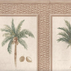 York Wallcoverings - Brown Bamboo Palm Trees Wallpaper Border - Wallpaper borders bring color, character and detail to a room with exciting new look for your walls - easier and quicker then ever.