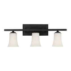 Murray Feiss - Murray Feiss Boulevard Bathroom Lighting Fixture in Oil Rubbed Bronze - Shown in picture: Boulevard Vanity Strip in Oil Rubbed Bronze finish with Opal white etched glass shade