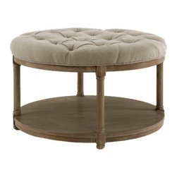 "Brownstone - Brownstone Lorraine Round Cocktail Ottoman - Innovative and timeless, Brownstone artfully blends yesterday's influence with of-the-moment designs. The round Lorraine cocktail ottoman marries posh panache with organic refinement. Topped with a plush tufted cushion, the transitional table's solid oak wood frame boasts elegant turned details along its legs. A bottom shelf provides the living room an unexpected display surface. Gray cushion is made from a linen blend. 36"" Diameter x 18""H."