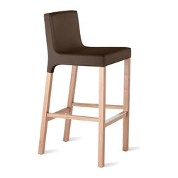 Blu Dot - Blu Dot Knicker Barstool, Chocolate - Details make the difference. Like the subtle shift from fabric to wood and the just-so padded seat. Whether you're serving souffle or sausage sizzle, no one will mind because of these chairs. Available in chalk or dark roast upholstery and white, black or chocolate leather alternative with walnut legs. Stools complete with a brushed stainless steel accent that protects the footrest from wear.