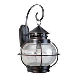 Maxim Lighting - Maxim Lighting Portsmouth Traditional Outdoor Wall Sconce X-IODC40503 - Take pride in the New World styling of this traditional wall sconce. This American classic has an oil rubbed bronze finish and seedy glass so your porch or garden will shimmer with the romance of a bygone age.