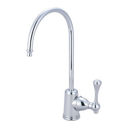 "Kingston Brass - Vintage Water Filtration Faucet, Chrome - The lanky but tough makeup of the Vintage collection of water filtration faucets is designed for reliance with its solid brass construction and long-lastingness with its special finish.; Fabricated from high quality brass material for durability and reliability; Lifetime hardisc ceramic cartridge; 3/8"" -14 NPS male threaded inlet shank; Install in decks up to 2"" thickness; 1/4"" turn ON/OFF water control mechanism; Max 2.2 GPM (8.3 LPM) water flow rate at 60 PSI; Material: Brass; Style: Classic; Faucet Holes: 1; Flow Rate GPM: 2.2; Valve Type: Ceramic Disc; Faucet Centers: Single Post; Spout Height: 11; Spout Reach: 6; Max Deck Thickness: 2; Handle Style: Metal Lever; Number of Handles included: 1; Weight: 1.65 lbs; Dimensions:15.27""L x 7.40""W x 2.74""H"