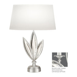 Fine Art Lamps - Fine Art Lamps 854610-12 Marquise Silver Faceted Crystal Table Lamp - Fine Art Lamps 854610-12 Marquise Silver Leaf Table Lamp