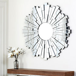 Abbyson Living - Abbyson Living Empire Round Wall Mirror - Add a useful mirrored surface to your room while providing a decorative touch as well with this lovely round wall mirror. The mirror is crafted of glass and wood and colored silver to attract instant attention from anyone entering the room.