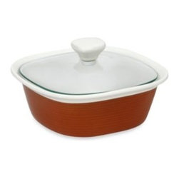 Corningware - CorningWare Etch 1 1/2-Quart Casserole Dish in Brick - CorningWare Etch bakeware dishes reflect stoneware and the expression of shape, texture and technology that display a definitive modernism. Etch bakeware dishes feature ribbon-like embossed lines that weave loosely around the base.