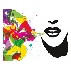 Talking Colors Wall Mural - Words are spoken as vibrant colors in this artistic wall mural.