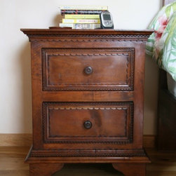 Furnishing of Mesquite wood - bedside table with 2 drawers