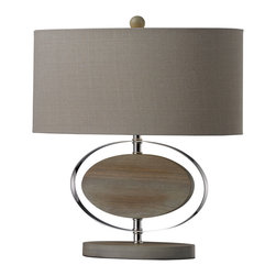 Dimond - Dimond D2296 Contemporary Table Lamp - Item Finish: Bleached Wood With Chrom Finish