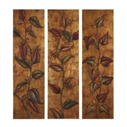 Uttermost - Uttermost 32156 Climbing Vine Art Panels Set of 3 - This vibrant, earth tone artwork is hand painted on canvas that is stretched and mounted on hardboard frames. Due to the handcrafted nature of this artwork, each piece may have subtle differences.