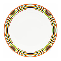 Iittala - Origo Dinner Plate, Orange - Give your meal a festive flair with these striped ceramic dinner plates. The preppy colors are a cheerful departure from plain white dinnerware and will surely enhance your table. And when the meal is done, simply place these in the dishwasher for easy cleanup.