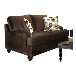 Chelsea Home Furniture - Chelsea Home Chloe Loveseat in Bella Chocolate - Tory Spa Pillows - Chloe loveseat in Bella Chocolate - Tory Spa Pillows belongs to the Chelsea Home Furniture collection