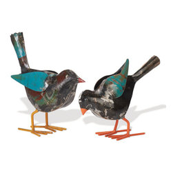 Recycled Metal Sparrows - Home Decor - This cute two bird set is made from Recycled Metal, welded and shaped into Sparrows! Check out their colorful feet… You can pull their metal wings away from the body if you want – you can also bend them to add flapping action :-)