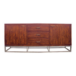 Four Hands - Copenhagen Large Sideboard - Who says modern and rustic can't play together? The sleek rosewood of this sideboard pairs beautifully with simple iron hardware. Overall, it feels like a fresh take on midcentury modern style. It would be right at home in the dining room or living area.
