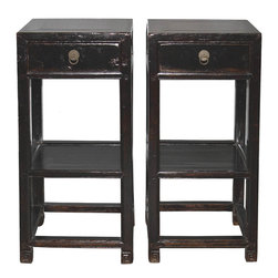 Black and Brown Lacquered End Table - Pair of 19th-century Chinese black and brown lacquer 1-drawer end tables with shelf and Greek key design on the feet. New drawer pulls. Shanxi, China circa 1890s. Available individually at $1650 each.