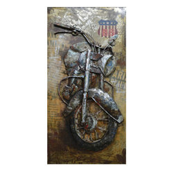 """YOSEMITE HOME DECOR - Rider III Art Painted on Metal Sheet - This piece of artwork exudes the """"All-American"""" sentiment that we all admire with a rustic picturesque motorcycle jumping off a time worn background. Rev up your man cave and express your rough and rugged side with this metal and hand painted art."""