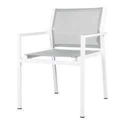Mama Green - Allux Stacking Chair, Grey - The Allux Stacking Chair is a contract grade stacking dining chair. It comes in any aluminum/sling combination you can come up with. Customization of this chair is limited to stock aluminum and sling color options.