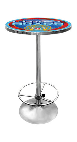 Trademark Global - Round Pub Table w United States Coast Guard L - A gleaming chrome painted steel base sets off the officially sanctioned logo of the United States Coast Guard that decorates the top of this stylish pub table. The logo is protected by a layer of clear acrylic, ensuring that the table will be a long lasting addition to your home's decor. Great for gifts and recreation decor. 0.125 in. Scratch resistant UV protective acrylic top. Full color printed logo is protected by the acrylic top. Table top is trimmed with chrome plated banding. 1 in. Thick solid wood table top. Chrome base with foot rest and adjustable levelers. 28 in. L x 28 in. W x 42 in. H (72 lbs.)This US Coast Guard officially licensed pub table is the perfect for your game room on Hockey Night.