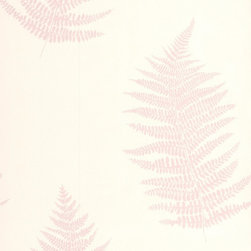 Graham & Brown - Verdant Pink Wallpaper - Soft botanical fern with stunning texture and mica deboss leaves.