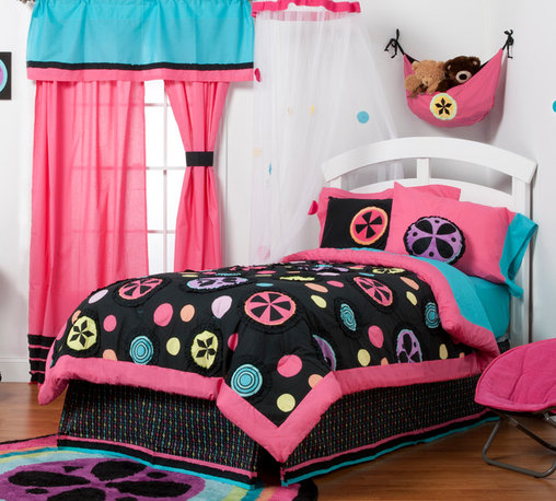 "Magical Michayla - Full Set (8pc) - Let the ""Magic"" of ""Magical Michayla"" come to life in a room filled with color!  Bold black surrounded by Kaleidoscope like patterns showcased in hues of pink, blue, green, yellow, purple and orange make this collection perfect for all personalities. This 8pc set includes full comforter, full bed skirt, full flat sheet, full fitted sheet, 2 standard pillowcases, 2 standard flanged pillow shams. Comforter comes in our designer Magical Michayla cotton print fabric with detailed patterns trimmed in ruffled fabric adding detail to the entire set.   Opposite side in turquoise blue and entire front and back of comforter framed in pink.   Magical Michayla Flat and fitted sheets come with our turquoise blue cotton fabric, two standard pillowcases.  Bed skirt showcases Magical Michayla ""magic rows"" cotton print fabric trimmed in pink, black and turquoise fabric creating a simplistic detail to final touches on this collection. Standard pillowcase come in solid pink and trim in turquoise blue cotton fabrics. Standard flanged sham is gorgeous in detail using bold black framed in pink with appliqu� of Magical Michayla signature pattern in minky centered on front of each.  SAVE WHEN YOU BUY AS A SET!"