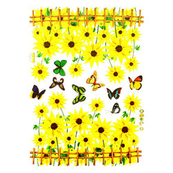Blancho Bedding - Colorful Butterfly and Blooming Flowers - Wall Decals Stickers Appliques Home De - The decals are made of a high quality, waterproof, and durable vinyl and will stick to any smooth surface such as walls, doors, glass, cabinets, appliances, etc. You can add your own unique style in minutes! This decal is a perfect gift for friend or family who enjoy decorating their homes. Imaginative art for you and won't damage your walls! Without much effort and cost you can decorate and style your home. Quick and easy to apply~!!!