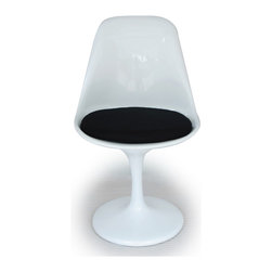 """Kardiel Tulip Style Chair White Fiberglass, Black Cashmere Wool - Does it get any more """"Eero Saarinen"""" than the Tulip Chair and Table series? It should come as no surprise that an artists work is their signature. Comparing the tulip table and chairs, created in 1964/65 respectively, it is not difficult to see the relationship to Eero's other furniture pieces. A similar styling can be found in Eero Aarnio' ball chair. Not only did they share the same first name but a similar design flair. While available in many colors today, the original Tulip chair exclusively featured red wool fabric cushions. The chairs feature pure solid white molded fiberglass shells that rest on a aluminum cast base. Smooth with a gloss sheen and seamless appearing in design. The Tulip Chair went on to star in none other than Gene Rodenberry's Star Trek between 1966 and 1969. The bridge chairs were tulip chairs, with a slight modification. After the series ended, a few were salvaged. One recently auctioned for more than $18,000."""