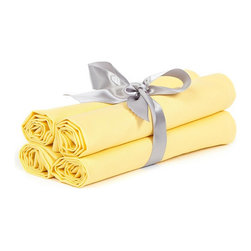 """BH Decor - Solid Yellow Table Linen Napkins ( Set of 4 ) - - 20"""" square"""