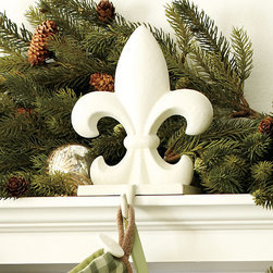 Ballard Designs - Fleur-de-Lis Stocking Holder - This fleur-de-lis cast iron stocking holder is a Ballard classic everyone can love. Crafted of smooth cast iron with protective felt bottom.