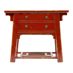 Marco Polo Imports - Wuan Desk with Hidden Stool - Representing the best of Chinese antique reproductions, the Wuan desk with hidden integrated stool preserves venerable patterns and exotic frames that have been adapted into multi-functional accent items for today's household needs. Hand-painted and distressed, each of these designs is constructed using woods reclaimed from demolished buildings, married with traditional Chinese joinery. Crackled painted finishes and layers of lacquer impart an authentically aged feel. Available in Antique Red and Natural finish.