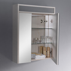 """Fresca - Fresca Light Oak Bathroom Medicine Cabinet w/Three Level Shelving - Function and fashion combine in the FMC3001 Fresca Light Oak Bathroom Medicine Cabinet. With three tiers of sturdy tempered glass shelving, this medicine cabinet offers plenty of storage space for all of your toiletries. Measuring H 31.5"""" x W 25.13"""" x D 6.25"""", it fits handily above most vanities. This lovely Fresca medicine cabinet is mirrored inside and out and features soft-closing hinges and an elegant light oak finish that complements a variety of decors."""