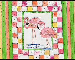 Caroline's Treasures - Bird - Flamingo Indoor Or Outdoor Mat 18X27 Doormat - INDOOR / OUTDOOR FLOOR MAT 18 inch by 27 inch Action Back Felt Floor Mat / Carpet / Rug that is Made and Printed in the USA. A Black binding tape is sewn around the mat for durability and to nicely frame the artwork. The mat has been permenantly dyed for moderate traffic and can be placed inside or out (only under a covered space). Durable and fade resistant. The back of the mat is rubber backed to keep the mat from slipping on a smooth floor. Wash with soap & water.