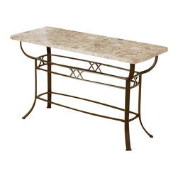 Hillsdale - Hillsdale Brookside Sofa Table - Hillsdale - Console Tables - 4815OTS - The Hillsdale Brookside Sofa Table features the lustrous depth and beauty of fossil stone and the classic effect of traditional designs. It also boasts a beautifully styled metalwork base with a diamond motif. This sofa table's natural organic element will add the calmness and warmth of real stonework to your home.