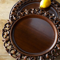 "Horchow - Each Acanthus Wood Charger Plate - Exclusively ours. Add texture to a table setting with these hand carved wooden charger plates. Imported. Handcrafted of lauan wood. Hand finished. Sold individually. Each, 14""Dia."