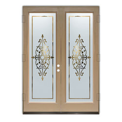 Sans Soucie Art Glass (door frame material Plastpro) - Glass Front Entry Door Sans Soucie Art Glass Barcelona - Sans Soucie Art Glass Front Door with Sandblast Etched Glass Design. Get the privacy you need without blocking light, thru beautiful works of etched glass art by Sans Soucie!  This glass is semi-private.  (Photo is view from outside the home or building.)  Door material will be unfinished, ready for paint or stain.  Bronze Sill, Sweep.  Satin Nickel Hinges. Available in other finishes, sizes, swing directions and door materials.  Dual Pane Tempered Safety Glass.  Cleaning is the same as regular clear glass. Use glass cleaner and a soft cloth.