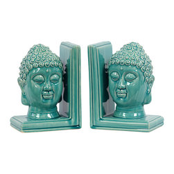 """Buddha Head Bookends-Turquoise - Bookends Made of Ceramic Measurements: (6.5""""x4.5""""x8""""H)x2"""