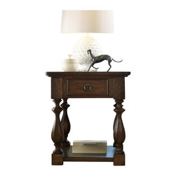 Hooker Furniture - Hooker Furniture Classique One Drawer End Table in Medium Chestnut - Hooker Furniture - End Tables - 506780113 - Soft edges. Artful curves. Beveled turnings. Classic becomes fresh through design details and a beautiful medium chestnut colored finish on okume veneers in the Classique collection.