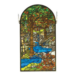 "Meyda Tiffany - 16""W X 30""H Tiffany Waterbrooks Stained Glass Window - Meyda's interpretation of Louis Comfort Tiffany's Water brooks window is made using hand cut glass individually wrapped in copper foil. A beautiful selection of stained art glass in neutral tones of Earth Browns, Verdant and Mottled Greens, Russet Oranges and rippling Azure were hand selected to create this masterpiece. A solid brass hanging chain and brackets are included."
