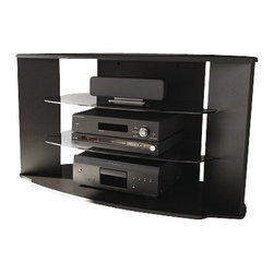 """Sonax - Sonax Rio Black TV Stand for 37-52 Inch Flat Panel HD TVs - Sonax - TV Stands - RX4500 - Ideal for all areas of your living space including corners the Rio Collection features a solid engineered wood construction with child friendly profiled edges. UV cured black lacquer finish means seamless durability and resistance to scratching and water. Accommodating most TV's up to 52"""""""" the RX-4500 comes with clear tempered glass shelves and a cable management system. Bring home this contemporary furniture by Sonax proudly built in North America."""