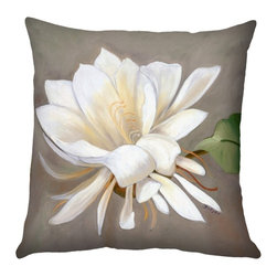 Pillow Decor - Pillow Decor - Cactus Flower Throw Pillow 20x20 SQ - A single cactus flower in full bloom is set against a soft taupe and gray background. This 20x20 square accent pillow is backed with the same fabric in solid white and would be a wonderful finishing touch on a bed, chaise lounge, or sofa. The image is a reproduction from a Sandra Forzani original painting and is available exclusively through Pillow Decor.