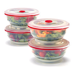 Collapse-It - Collapse-It 4-Cup Food Storage Container - Set of Four - With air-tight lids, this sublime set of 4-cup silicone storage containers keeps veggies, leftovers and more securely sealed and fully fresh! The collapsible construction saves crucial kitchen space when not in use.   Includes four storage containers and four lids 3'' H x 6.5'' diameter Holds 4 cups 100% silicone Toxin-free Freezer-, oven-, microwave- and dishwasher-safe 2-year warranty Imported