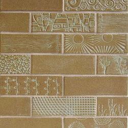 "2""x6"" Subway Tile with textures - 2""x6"" Subway Tile - 42 Olive / Textures - Spiral, Leopard, Stripe, Prairie, Totem, Woodgrain, Pine, Beanstalk, Net, Bloom"