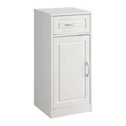 4D Concepts - 4D Concepts Bathroom 1-Door/1-Drawer Base Cabinet in White - What a great storage unit for any room in the home! This base cabinet has 1 decorative vacuumed formed doors with shaped pewter colored handle that swings open to one adjustable shelf behind the door. The vacuumed formed drawer front with shaped pewter colored handle opens on metal glides with great storage for all of your needs. Constructed of composite board and highly durable PVC laminate. Clean with a dry non abrasive cloth. Assembly required.