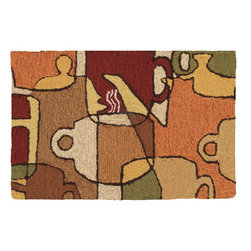 "Homefires - Coffee Collage Rug - It's now time to pay homage to the reason you accomplish all that you do, the reason you make it to work on time, the reason you have productive meetings, the reason you are the carpool favorite – coffee. Celebrate your appreciation for coffee with a machine-washable area rug that says, ""cheers"" to your favorite beverage."