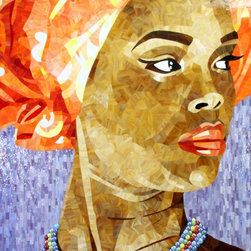 "Stained Glass Mosaic Portrait - This is a one-of-a-kind mosaic titled ""Africa's True Wealth"""
