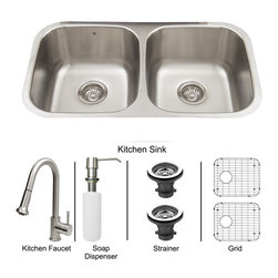 Vigo Industries - All in One 32 in. Undermount Stainless Steel Kitchen Sink, Faucet Set - Breathe new life into your kitchen with a VIGO All in One Kitchen Set featuring a 32 in. Undermount kitchen sink, faucet, soap dispenser, matching bottom grids, and strainers. The VGR3218BL double bowl sink is manufactured with 18 gauge premium 304 Series stainless steel construction with commercial grade premium satin finish. Fully undercoated and padded with a unique multi layer sound eliminating technology, which also prevents condensation. All VIGO kitchen sinks are warranted against rust. Required interior cabinet space: 35 in. Kitchen sink is cUPC and NSF-61 certified by IAPMO. All mounting hardware and cutout template provided for 1/8 in. reveal or flush installation. The VG02002ST kitchen faucet features a dual function Pull-Out spray head for aerated flow or powerful spray, and is made of solid brass with a stainless steel finish. Includes a spray face that resists mineral buildup and is easy-to-clean. High-Quality ceramic disc cartridge. Retractable 360-Degree swivel spout expandable up to 30 in. Single lever water and temperature control. All mounting hardware and hot/cold waterlines are included. Water pressure tested for industry standard, 2. 2 GPM Flow Rate. Standard US plumbing 3/8 in. connections. Faucet height: 15 1/8 in. Spout reach: 8 3/4 in. Kitchen faucet is cUPC, NSF-61, and AB1953 certified by IAPMO. Faucet is ADA Compliant. 2-hole installation with soap dispenser. VGSD001ST Soap dispenser is solid brass with a stainless steel finish and fits 1 1/2 in. opening with a 3 1/2 in. spout projection. Matching bottom grids are Chrome-Plated stainless steel with vinyl feet and protective bumpers. Sink strainers are made of durable solid brass in chrome finish. All VIGO kitchen sinks and faucets have a Limited Lifetime Warranty.