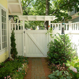 Custom Wood Fence - Western red cedar privacy fence stained white.   http://www.fenceconsultants.com